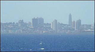 Modern Havana from the sea (23 degrees north, 84 degrees west)